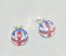 GB Flag Great Britain, Stud Earrings [ 925 Sterling Silver & Cubic Zirconia ]