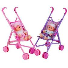 Cute Dolls Buggy Stroller Pushchair Pram Foldable Girls Toy Doll Pram Baby Doll