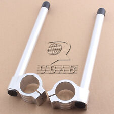 "7/8"" Adjustable Raised Clip On Handlebar Bar 35 MM Fork Tube Custom Silver Pair"