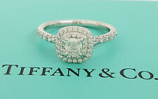 Tiffany & Co Soleste 0.60 ct Platinum Cushion Cut Diamond Halo Engagement Ring