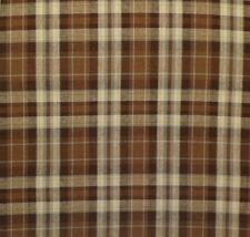 "P KAUFMANN PICKERING PLAID CAFE BROWN SEAFOAM BLUE FABRIC BY THE YARD 55""W"