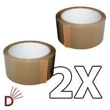2X ROLLS OF BROWN BUFF PARCEL PACKING TAPE PACKAGING CARTON SEALING 48MM X 66M