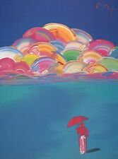 "Peter Max Art Print ""Sage"" Psychedelic Colors Pastel Clouds Figure with Umbrella"