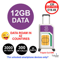 Tre UK pagare As You Go SIM £ 20 credito 300 min 3000 testi 12 GB di dati 42 paesi