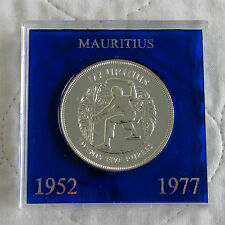 MAURITIUS 1977 SILVER JUBILEE SILVER 25 RUPEES CROWN - in spink style case