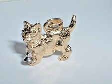 14K YELLOW & WHITE GOLD 3D KITTY CAT WITH MOVEABLE BELL PENDANT CHARM