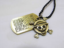 One piece Luffy's Straw Hat skull & wanted alloy metal double pendants necklace!
