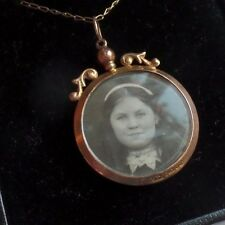 Antique 9ct Gold Double Sided Photo Pendant & Chain 1899