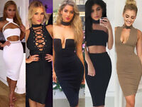 Womens Harness Choker High Halter Neck Cut-Out Rayo Bandage Bodycon Party Dress