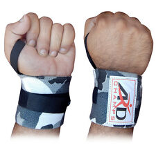 WEIGHT LIFTING TRAINING WRIST SUPPORT WRAPS GYM BANDAGE STRAPS CAMO GREY 18""