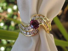 Red Ruby Channel Diamond WAVE Style Estate Ring 18K Yellow 1.75ctw Natural $4000