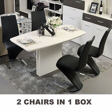 2 PCS Dining Chairs PU Leather High Back Dining Room Chair Chrome Base Furniture