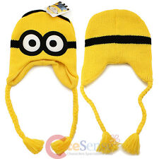Despicable Me Minion Beanie Hat Knitted Laplander Cap - Embossed 2 Eye