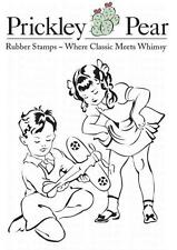 New PRICKLEY PEAR RUBBER STAMP cling  50'S BOY & GIRL W AIRPLANE  FREE US SHIP