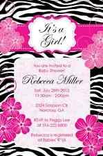 Zebra Pink Flower Elegant classy Baby Shower Birthday Invitation U print