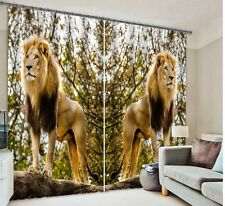 Lion 3D Curtain Blackout UV printing 2 Panels Set total size 60x65.5 Inch A1