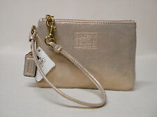 NWT COACH POPPY GOLD LEATHER WITH SHIMMER  SMALL WRISTLET PURSE 46479 RARE!