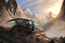 2 Dragon Kiss Animals Mountain Abstract Fantasy Poster 30X45cm Fabric Print 49