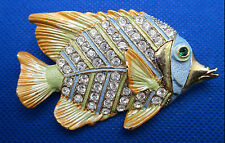 Stunning Estate Rhinestone ANGEL FISH Pin Soft Goldtone Yellow Blue Enamel 2.75""