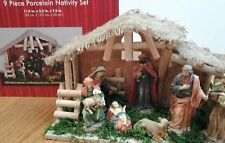 9 PIECE PORCELAIN NATIVITY SCENE HOLY FAMILY WITH CRECHE~NWTB