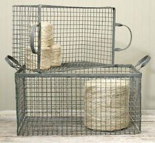 Country/Primitive/Farmhouse/Cottage Set of 2 Wire Storage Box Basket- Galvanized