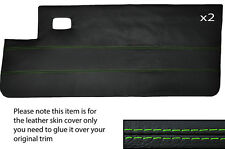 GREEN STITCH 2X FULL DOOR CARD LEATHER SKIN COVER FITS PEUGEOT 205 CJ CABRIO