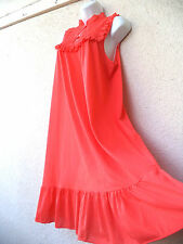 Vintage Nightgown Silky Nylon LACE Sheer Modest Cut RED Ruffles Nice Sweep L