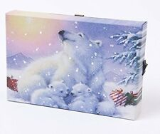 Small Festive Christmas Light up LED Canvas/Picture Polar Bear and Cubs 15x10cm