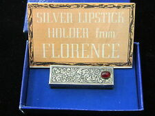Antique Sterling Silver & Ruby Mirror Compact Case Holder Box Lipstick Used