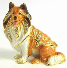 """Shetland Sheepdog or Sheltie"" Jewelled & Enamlled Dog Trinket Box or Figurine"