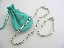 Tiffany & Co Silver Nature Bamboo Link Necklace Bracelet Chain SET Excellent