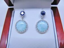 bLarimar Natural Matching Cabochon Crown Tanzanite Earring 925 Sterling Silver