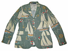 Polo Ralph Lauren Green Marine Sailing Rope Nautical Beach Blazer Jacket 44R