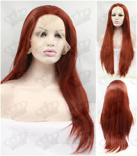 Ladies Dark Copper Red Glueless Heat Resistant Straight Synthetic Lace Front Wig