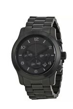 NWT Michael Kors Men's Runway Black Ion Plated Stainless Bracelet Watch MK8157