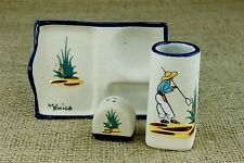 Tequila Shooter Plate Tray Shot Glass Salt Shaker Set Ceramic Clay Painted BG
