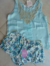 Peter Alexander XS AU 8 Aqua Camisole Top Lace Insert & Frill Sleep Short $110