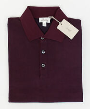 New BRIONI Men's Red Silk Blend Knitted Casual Polo Shirt Size 52/42/L $850
