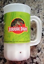 1999 ISLANDS OF ADVENTURE JURASSIC PARK TALL PLASTIC MUG/WHITE/NABISCO PRIZE.