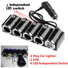 4 Way Car Cigarette Lighter Socket Splitter Kit Dual USB Charger Power Adapter