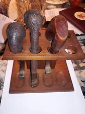 3 ANTIQUE TOBACCO PIPES -TINDER BOX,PETERSON & SMITH & SONS& DOLPHIN TEAK HOLDER