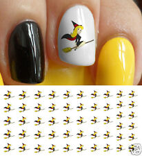 Pretty Halloween Witch on Broom Nail Art Waterslide Decals - Salon Quality!