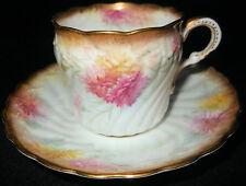 1890 Luscious Cup and Saucer, English Porcelain, Carnations & Chrysanthemums