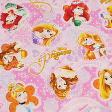 Disney Princess Fabric Panel Cotton Oxford Girls Sewing Quilt Crafts Pink Heart
