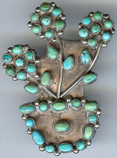 VINTAGE ZUNI INDIAN SILVER MULTI TURQUOISE FLOWERS IN POT PIN