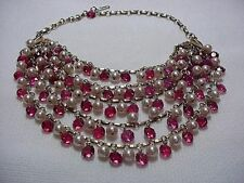 Incredible Bib Necklace with Faux Pearls and Cranberry Glass Crystals (NK1007)