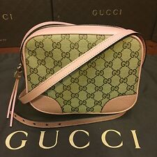 NEW Gucci GG Original Canvas And Soft Pink Leather Cross Body Bag