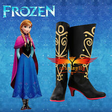 Disney Movie Frozen Snow Queen ANNA Shoes For Cosplay costume Adult Custom Size
