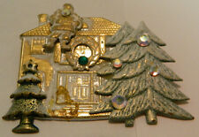 "Vintage Gold Finish Metal Santa on Roof w/ Trees Pin Good Condition 2.25"" x 1.75"