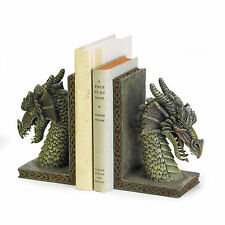 New Green Fierce Medieval Dragon Celtic Accents Pentagram Pagan Heavy Bookends